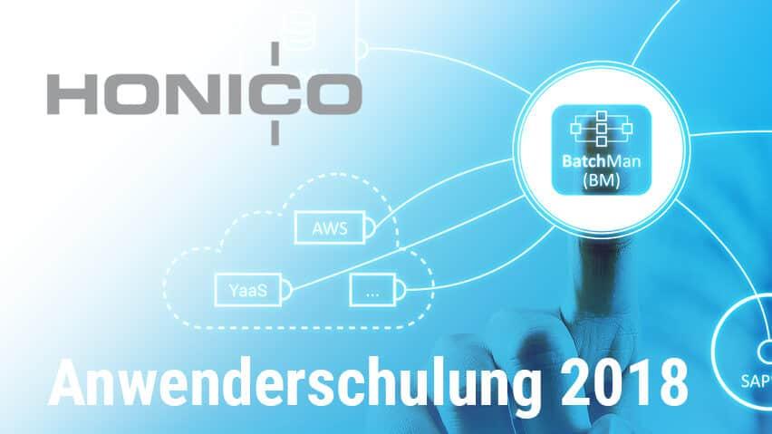 HONICO Anwenderschulung Workload Automation BatchMan Titel und HONICO Logo
