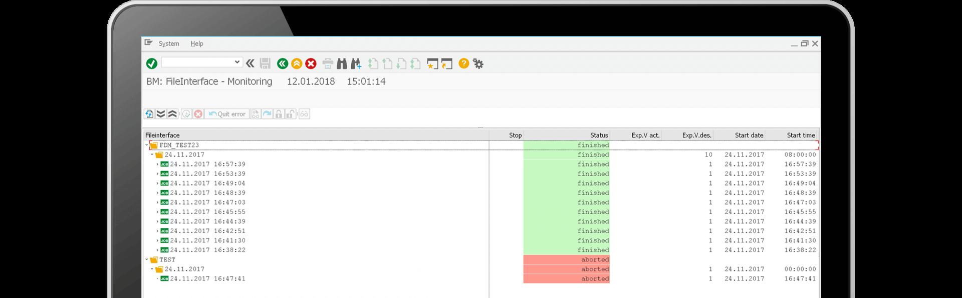 File & DataManager Prozessüberwachung Screenshot - alle Informationen zentral über das Monitoring verfügbar