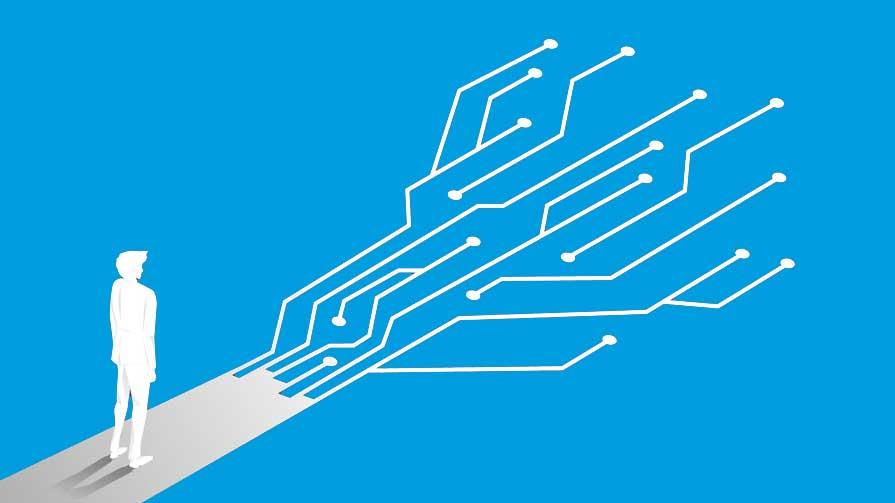 Zeit für Automation und Mann auf einen digitalen Weg stehend