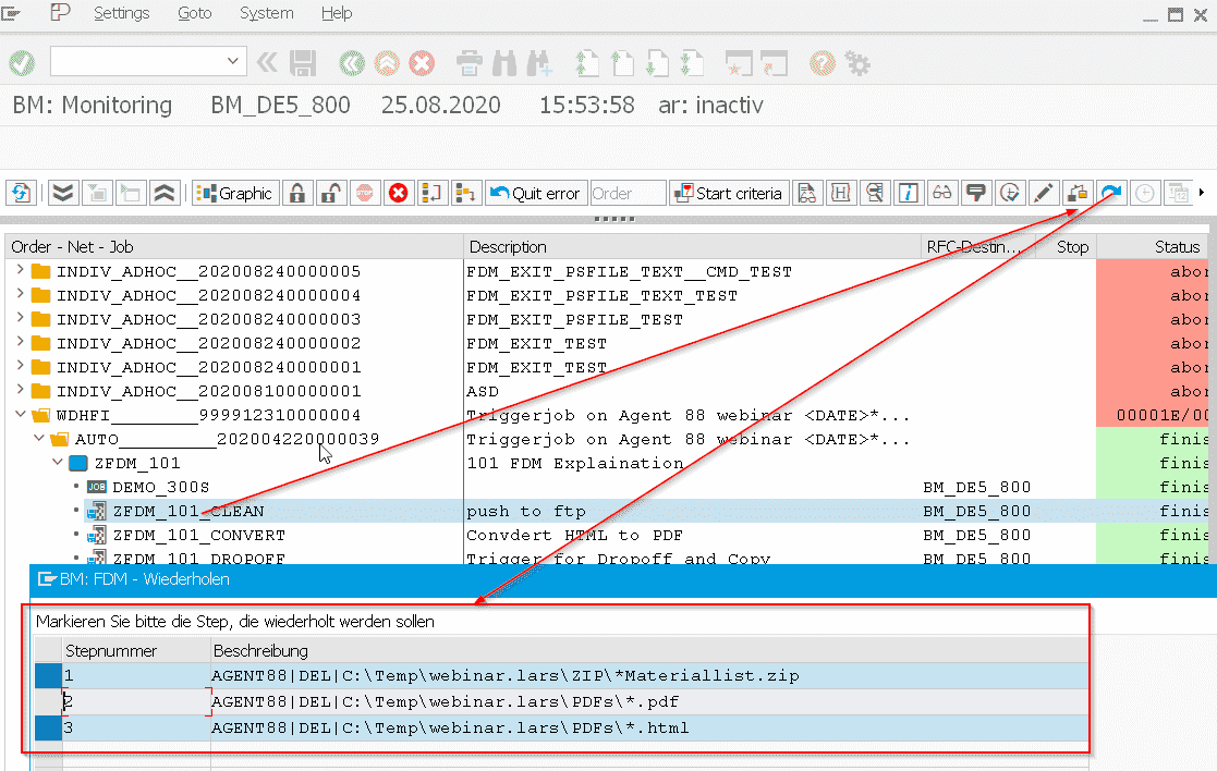 Screenshot Wiederholen von FDM Jobs und Steps