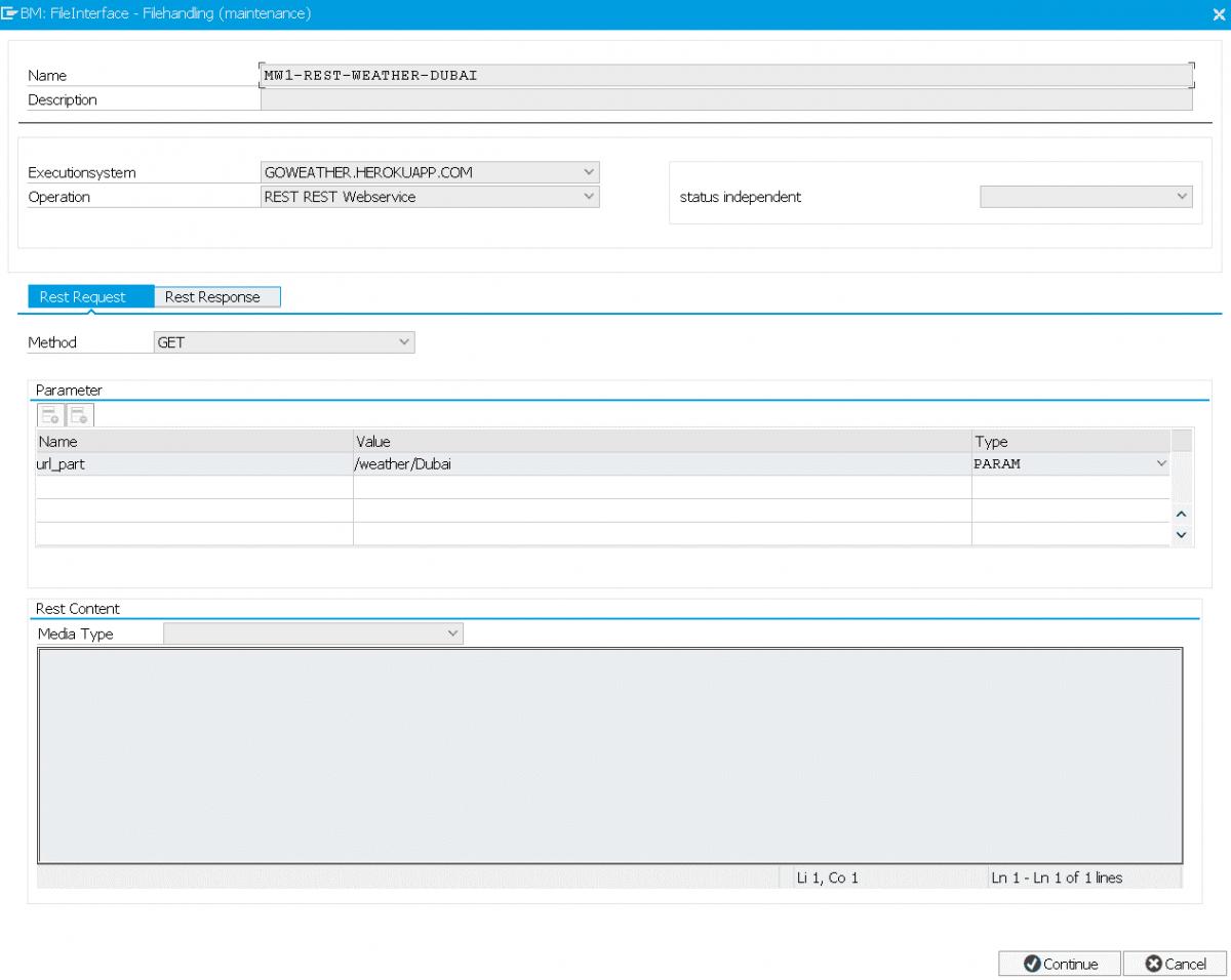Screenshot FDM BM: Einrichten REST Service