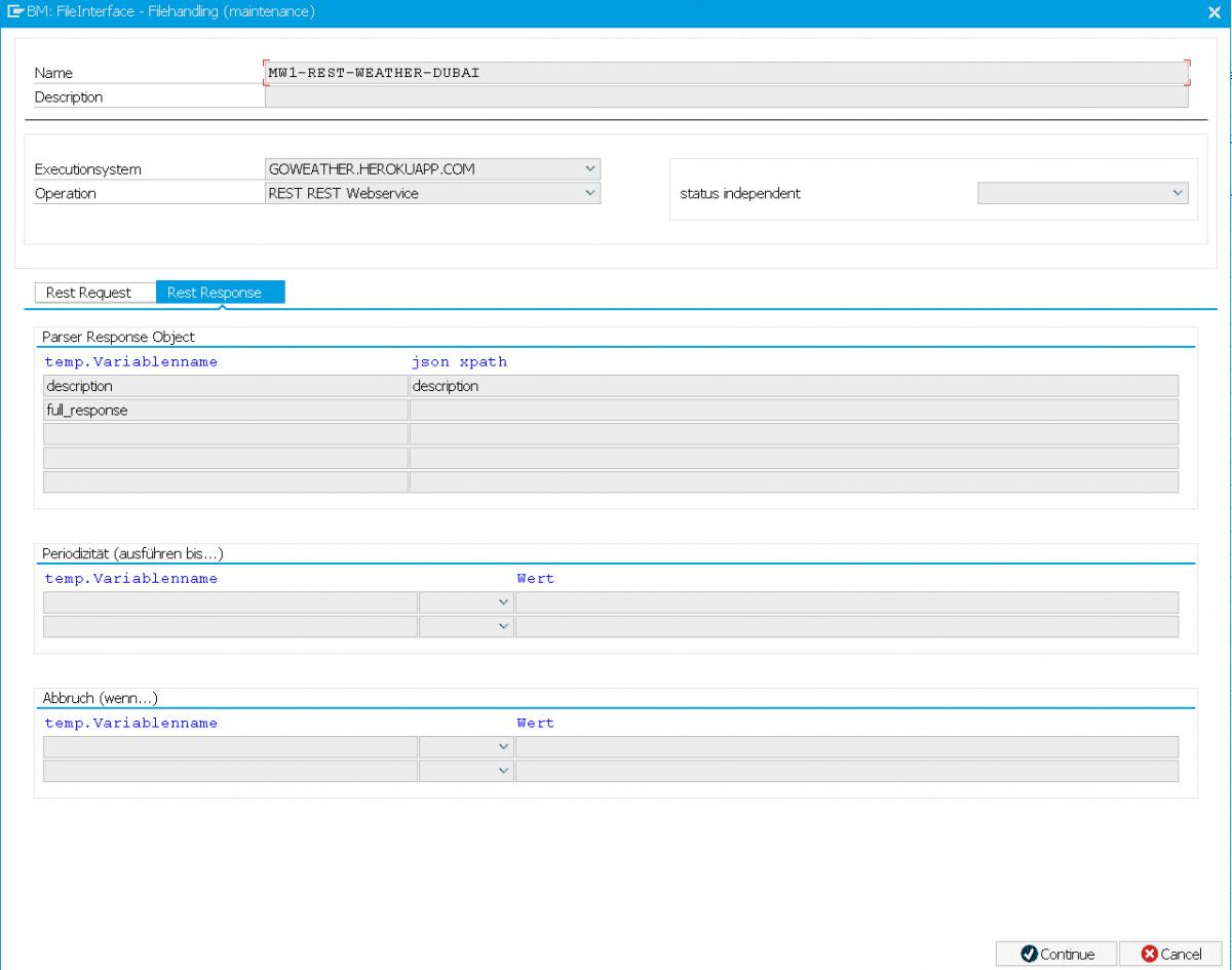 Screenshot FDM Feature: Einrichten REST Response Auswertung