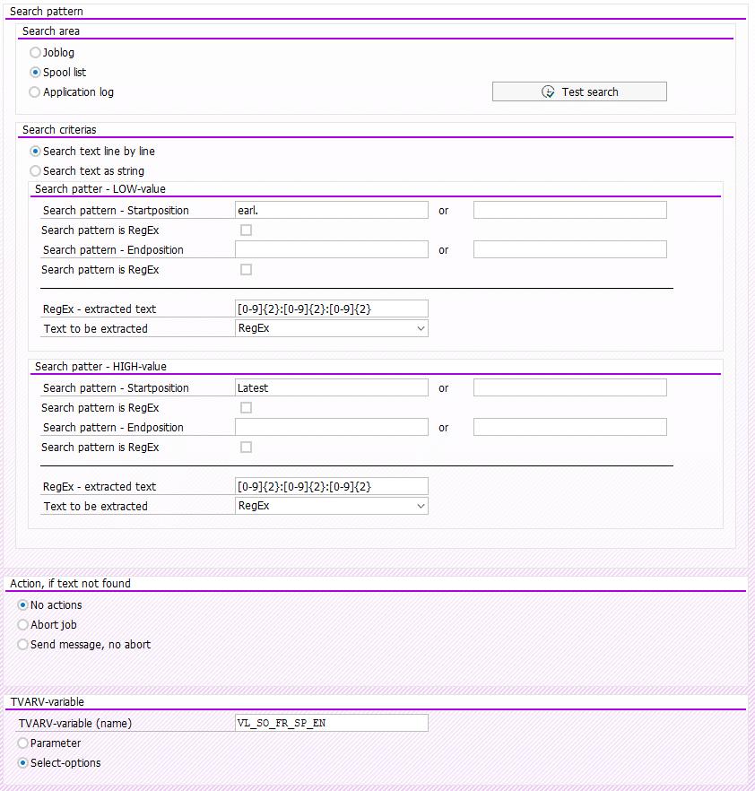 Screenshot Search pattern in Step 2 in BatchMan