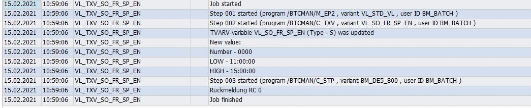 Screenshot Results in Job log in BatchMan