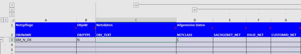 Screenshot BatchMan Gruppe Netzdaten mit ausgeklappten Spalten der Objektdaten