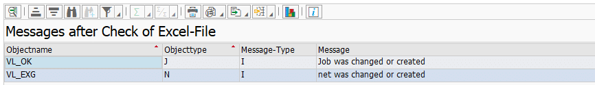 Screenshot BatchMan log checking an Excel file without importing